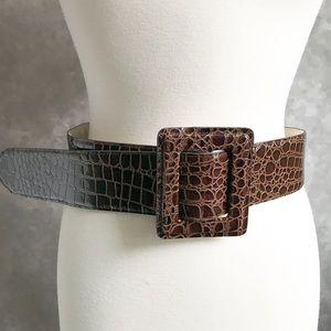 Betsy Johnson Leather Croc Skin Wide Brown Belt